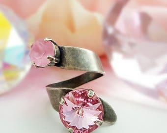Swarovski Pink Crystal Ring, Silver Spiral Ring, Large Statement Ring, Round Ring, Sparkly Ring, Silver Twist Ring, Promise Ring, R2014