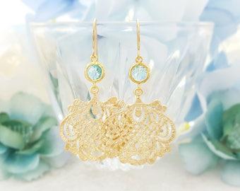 Gold Aquamarine Earrings ~ Long Dangle Earrings Evening ~ Blue Crystal Drop Earrings ~ Light Blue Statement Earring Blue Topaz Jewelry E2440