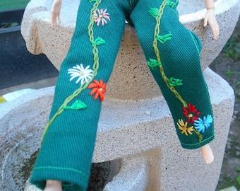 Barbie clothes, Barbie jeans, Green denim folk art hand embroidered, 12 inch doll jeans, 2 back pockets.