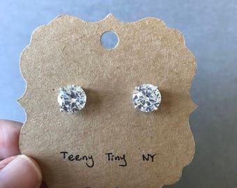Silver CZ Round Diamond Cut Stud Earrings - Sterling Silver