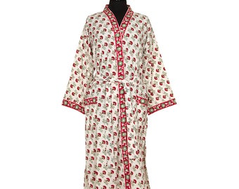 COTTON DRESSING GOWN - Block printed - Red and Green flower pattern