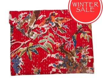 WINTER SALE - Tablet Sleeve / Clutch Bag - Red Bird Pattern