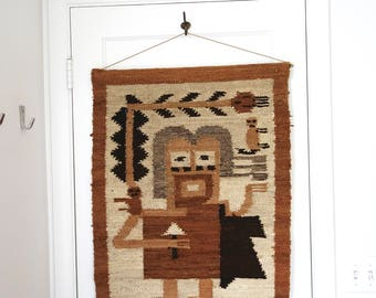 Folk Art Weaving, Tan and Brown Wall Hanging, Figure, Primitive Art, Tribal Textile, Handmade Textile, Vintage Weaving