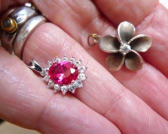 Two Silver Pendants, Sterling Silver, Red Pendant, Flower Pendant, Crystal Pendant, Vintage Pendants, Vintage Pendant, Rhinestones