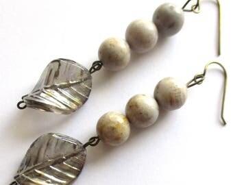 jasper earrings ab glass earrings dangle earrings drop earrings charm earrings wire wrapped boho earrings gift for her  gift