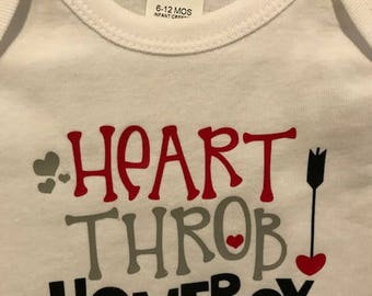Heart Throb homeboy baby boy valentine onesie