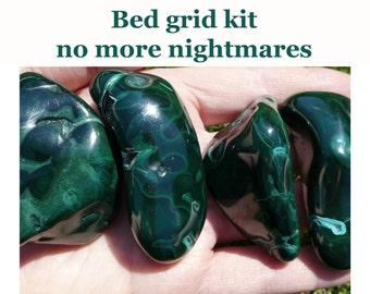 4 large malachites, polished malachite, psychic protection, sweet dreams, malachite, bedroom crystal grid, healing malachite. SWD10