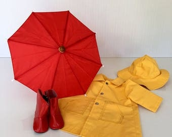 """Raincoat, hat, umbrella and boots for American Girl Doll or 18"""" doll."""