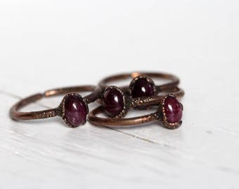 Ruby Ring Electroformed Jewelry Stone Ring Copper Ring Electroformed Ring Untreated Ruby Ring Cancer Jewelry