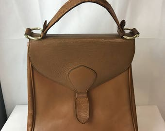 1950s Tan Top Handle Leather Bag