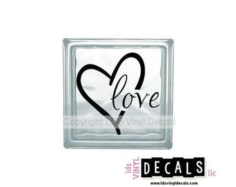 love (with heart)  - Valentine's Day Vinyl Lettering for Glass Blocks - Wedding Craft Decals