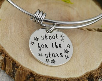 Shoot For The Stars Adjustable Bangle Bracelet - Stacking Bangle - Inspiration Jewelry
