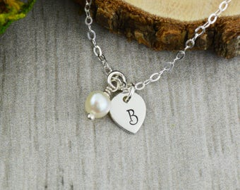 Customizable Initials and Freshwater Pearl Necklace in Sterling Silver - Personalized Hand Stamped Jewelry - Anniversary or Valentine Gift