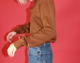 Camel Brown Turtle Neck Sweater / S M L