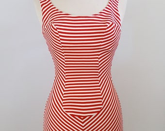 Candy Striper | 1950s red and white striped swimsuit | 50s vintage bathing suit