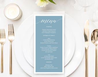 Dusty Blue Menu - Wedding Menu - Printable Menu - Rustic Wedding - Menu - 4x8 Menu - Bridal Shower Menu - Printable