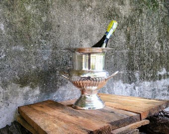 Mid Century Silver Plate Trophy Style Champagne Bucket