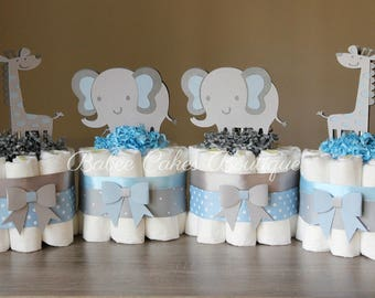SET OF 4 Mini Light Blue and Gray Elephant and Giraffe Diaper Cakes, Boy Jungle Baby Shower Centerpieces, Blue Grey Polka Dot, Mini Cakes