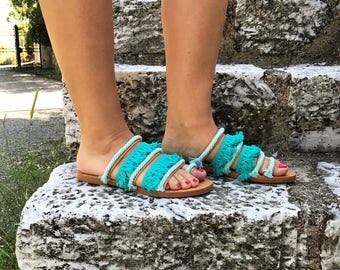 """Turquoise Lace Handmade Leather Sandals / Natural Greek Genuine Leather / Turquoise Light blue Cotton lace / Handmade Sandals """"Celeste"""""""