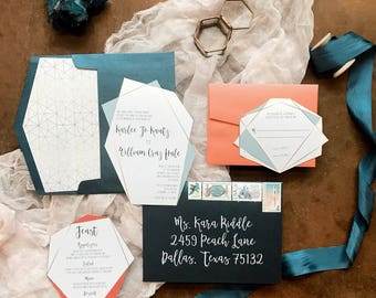 Geometric Die Cut Metallic Wedding Invitation in Coral, Navy & Gold — Envelope Liner, RSVP and Guest Address Printing