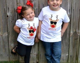 Reindeer Christmas Shirt - Boys Christmas Shirt - Girls Christmas Shirt - Cool Reindeer Shirt - Reindeer with Bow Shirt - Embroidered Shirt