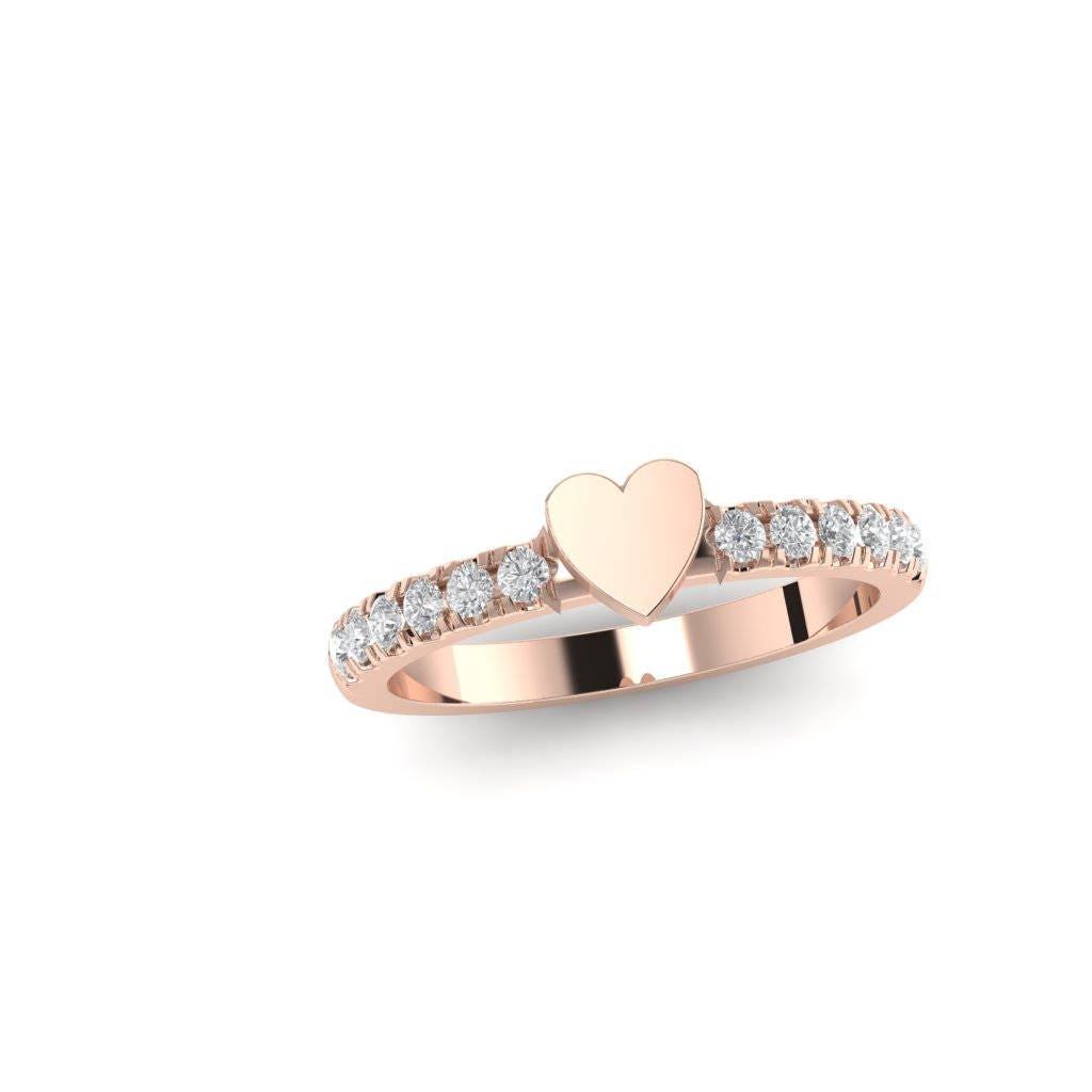 Diamond Heart Ring, Gold Promise Ring, Engagement Ring, Rose Gold Wedding  Ring. Stack Ring. Heart Signet Ring. Dainty Minimalist Ring.