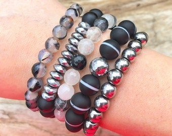 Black and Silver Bracelet Stack / Beaded Bracelet Stack / Stackable Bracelet / Stretch Bracelets