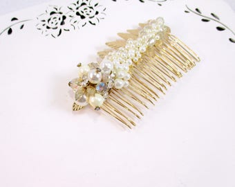 Gold Pearl Hair Comb, Ivory Wedding Comb, Gold Rhinestone Pearl Comb, Flower Girl Clip, Bridesmaid Hair Clip, Vintage Pearl Comb