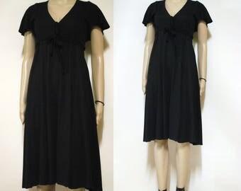 Vintage 70s Black Dress Empire Retro 1970s Boho Vtg Hippie Mid Length Flared Sleeves Size XS-S