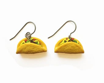 Taco Earrings - Food Earrings - Mexican Food Earrings - Polymer Clay Earrings - Cute Earrings - Fake Food -  Taco Gift