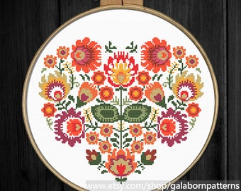 Autumn Floral heart Cross stitch pattern - Cross stitch - PDF download