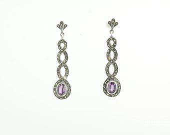 Vintage Amethyst Marcasite Sterling Silver Stud Earrings Dangle and Drop