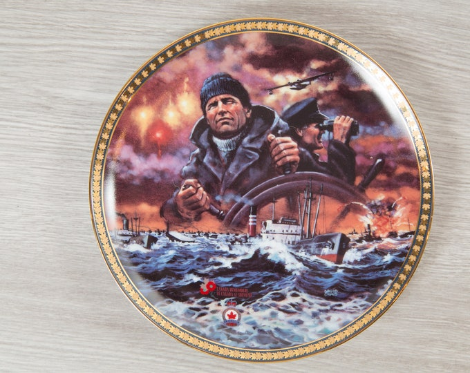 Collectible War Plate / True Patriot Love by David Craig / Canada Remembers / Dominion China 1996 / Men in Military at Sea Canadian Forces