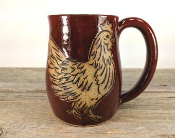 Chicken Mug 16oz - Large Mugs for Tea - Farmhouse Style - Modern Farmhouse - Gift-For-Her - Gift for Coworker - Mesiree Ceramics