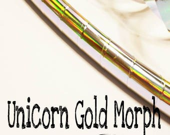 "Unicorn Gold Morph Taped Hula Hoop--polypro or HDPE--3/4"", 5/8"" or 11/16"" (polypro)"