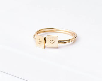 Personalised Initial Stacking Ring - skinny gold ring - letter ring - square initial ring - custom ring - 14k gold fill, rose gold fill