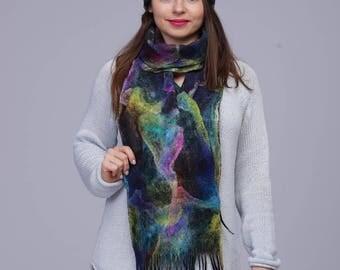 Wool Scarf Designer Scarf Felted Scarf Wrap Scarf Warm Wrap Wool Wool Hat