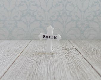 White Cross -  FAITH - Encouragement - Religious - Love - Jesus - Hope - Salvation - Preacher - Motivation - Pastor - Lapel Pin