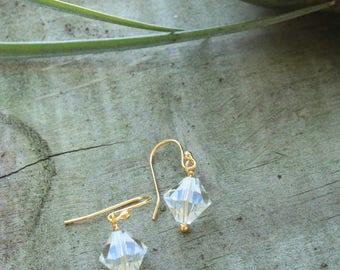 Diamond Shaped Prism Gold Dangle Earrings