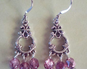 Pink and silver dangle earrings, silver pearls, hypo allergenic earrings