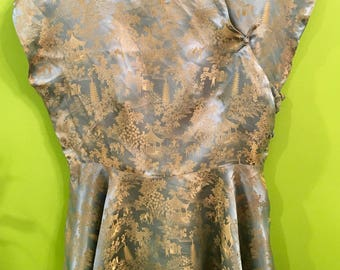 40s Hand Tailored Silky Chinese Cheongsam Peplum top M