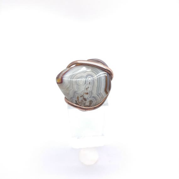 Patterned Stone Ring | Crazy Lace Agate Ring | Copper Stone Ring Sz 9 | Rustic Stone Ring | Banded Agate Ring | Copper Agate Ring