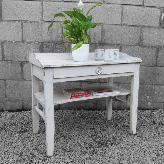 Rustic Old White French Hall Table Sideboard Antique Bathroom Storage