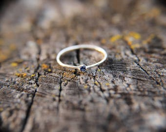 Sapphire, sterling silver hammered stacking ring with 2mm stone