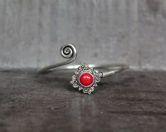 Red Coral Mandala Bracelet - 925 Silver
