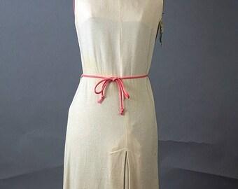SALE Vintage Deadstock Scooter Dress. 1960 Cream Mini Scooter Dress, Size XLarge