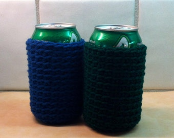 Crochet Drink Cozy, Beer Cozy, Soda Cozy, Blue, Handmade by KathysYarnCreations