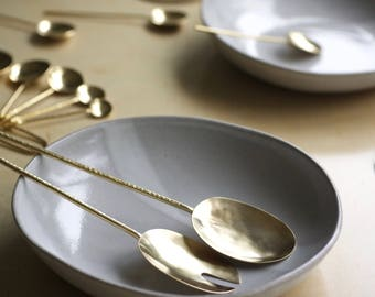 Serving Spoons    Brass Spoon and Fork Set