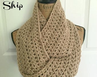 Ready To Ship Light Brown Taupe Infinity Scarf Crochet Knit Women's Accessories Eternity Fall Winter Sale