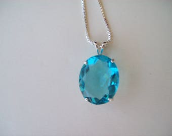 Swiss BlueTopaz Pendant in Sterling Silver Setting - huge 23x17mm oval with chain